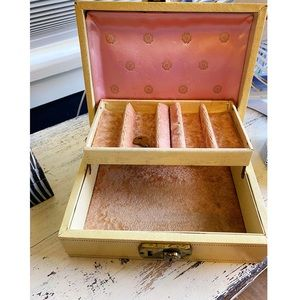 Vintage Blush and Yellow Jewelry Box with Key
